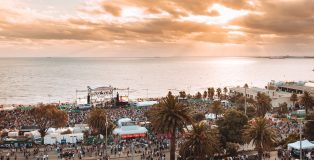 St Kilda Festival on the foreshore at sunset
